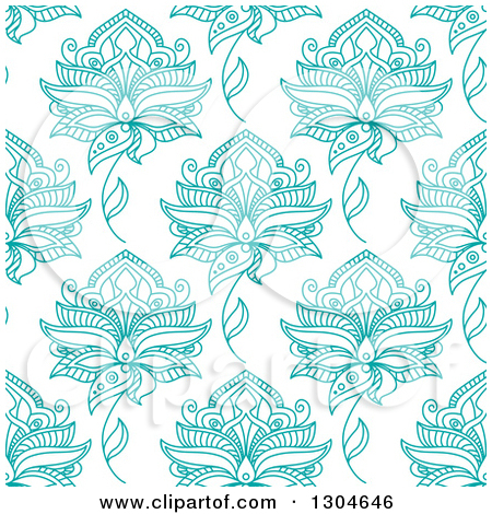 Clipart of a Background Pattern of Seamless Turquoise Henna.