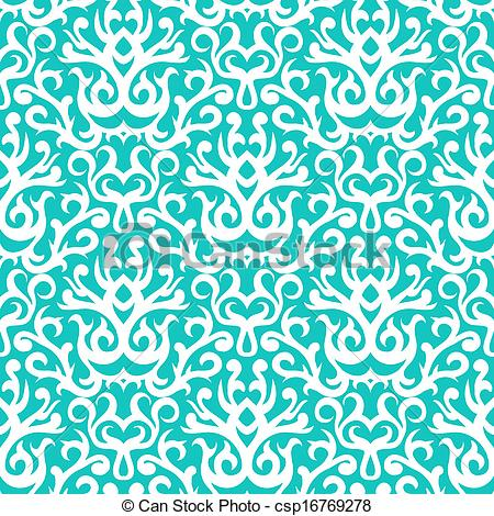 Vectors Illustration of Damask pattern in white on turquoise.