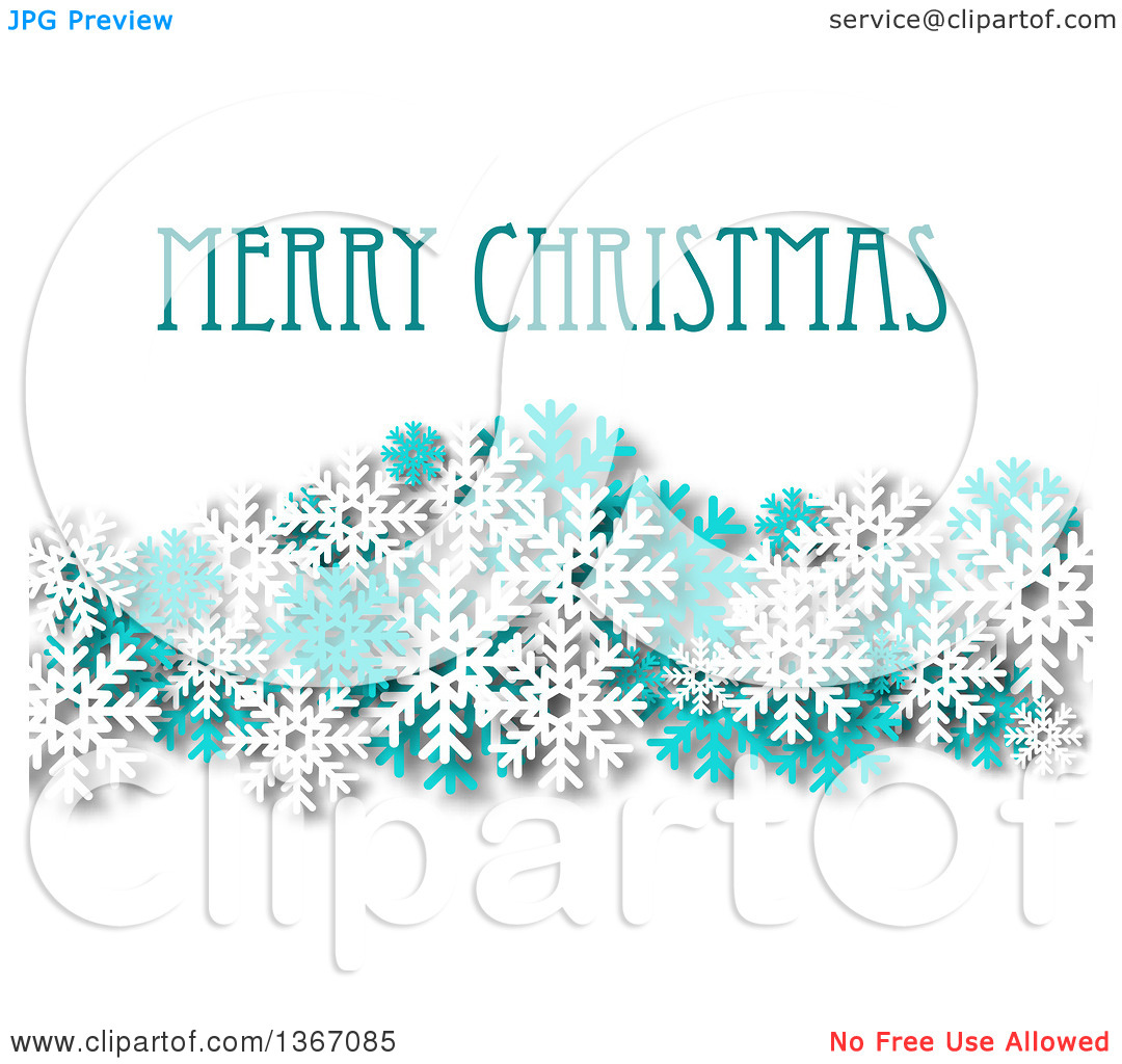 Clipart of a Merry Christmas Greeting with Turquoise and White.