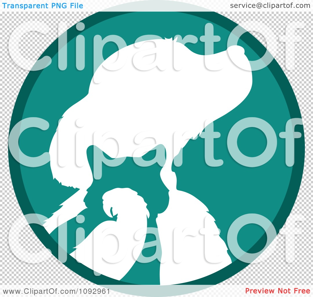 Clipart Turquoise And White Silhouetted Parrot Cat And Dog Logo.