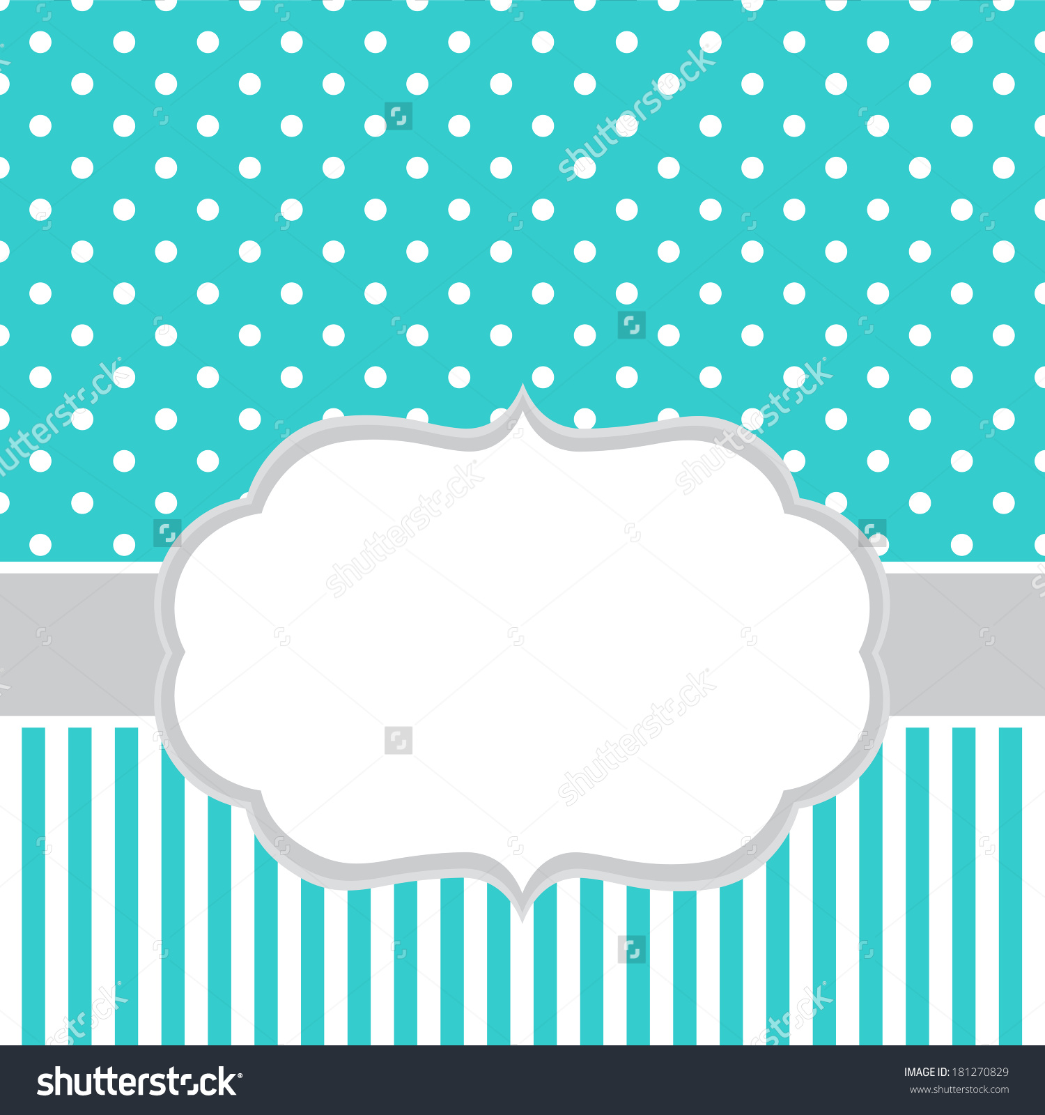 Turquoise Invitation Card Template White Frame Stock Vector.