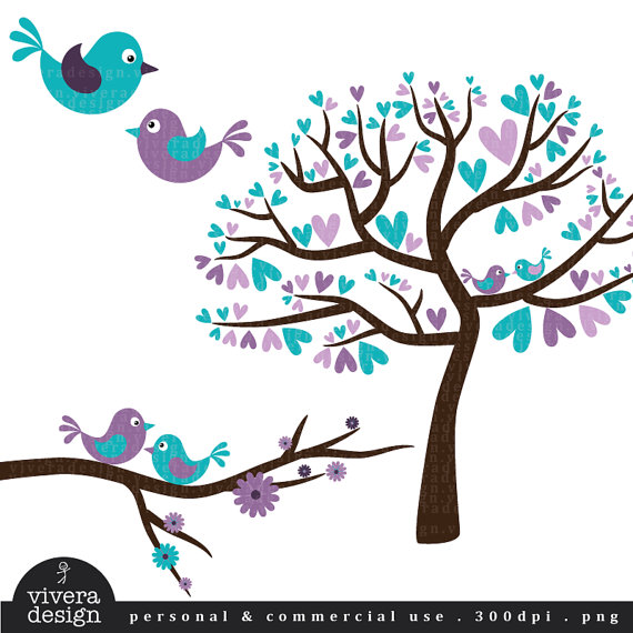 Love Birds in Purple and Turquoise Digital Clip Art.