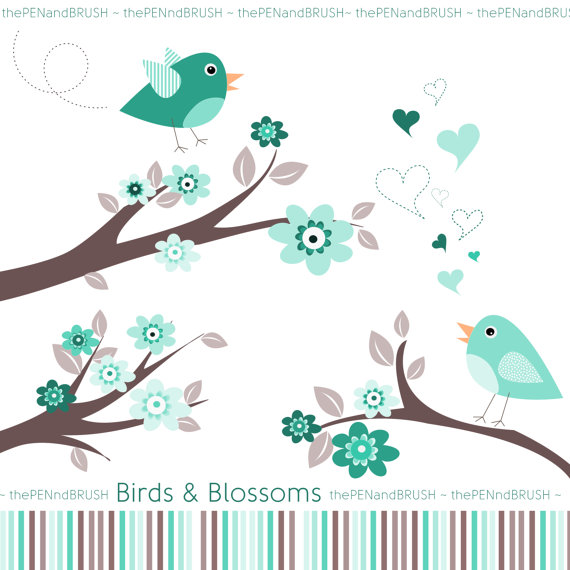 CLIP ART: Birds and Blossoms Pack // Blue Turquoise and Mauve.