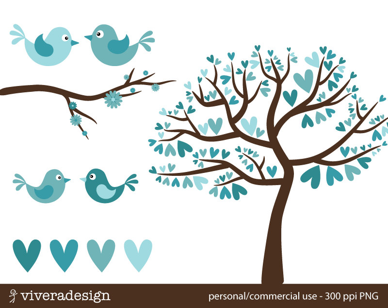 Love Birds in Turquoise Digital Clip Art Individual Images.