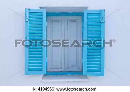 Stock Images of Panes blue white walls. k14194966.