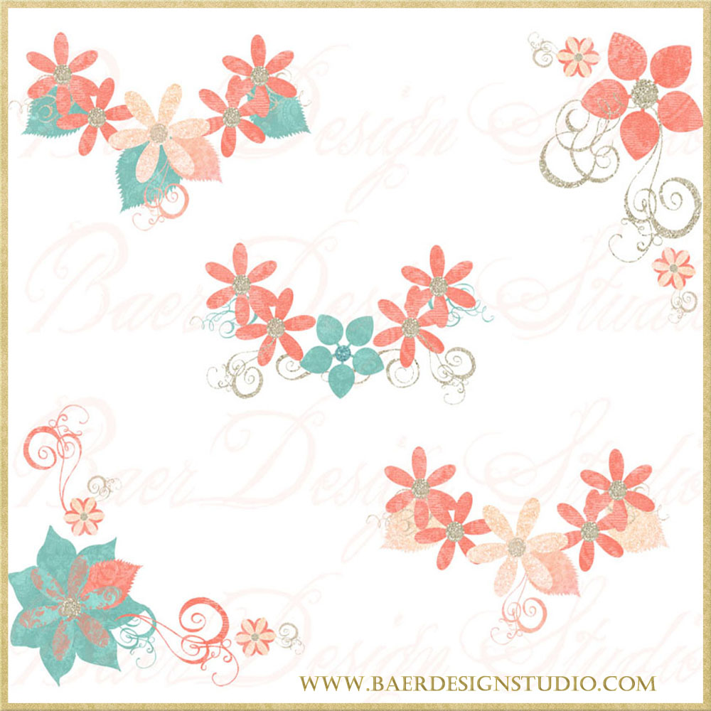 Coral and Turquoise Flowers Digital Clip Art, Glitter Flower.