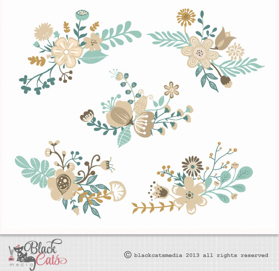 Flower digital clipart Turquoise and cream Wedding.