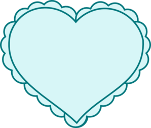 Teal Heart With Lace Outline Clip Art at Clker.com.