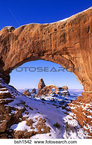 Stock Photo of Morning light on North Window framing Turret Arch.