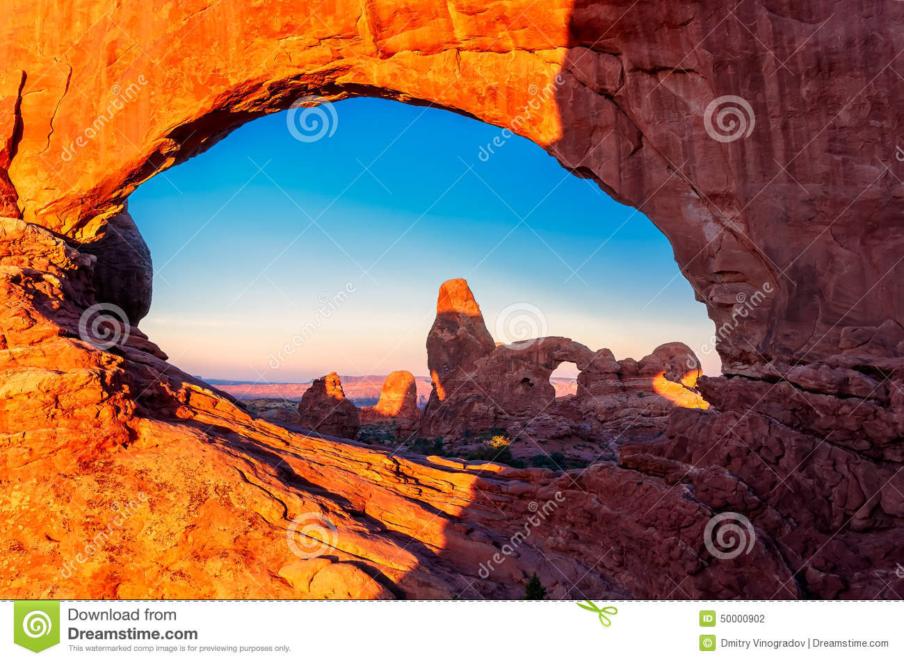 Turret Arch Through The North Window At Sunrise In Arches National.