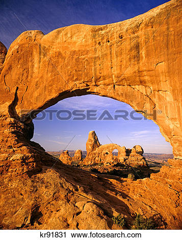 Stock Photography of Turret Arch Seen Through North Window At.
