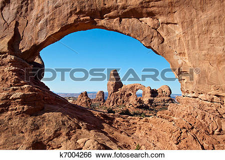 Stock Images of Turret Arch framed by North Window in the Arches.