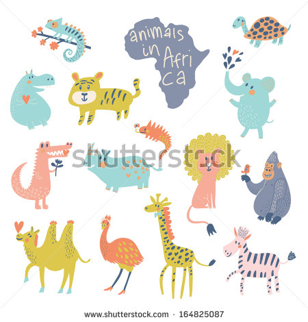 African Animals Iguana Turtle Elephant Tiger Stock Vector.