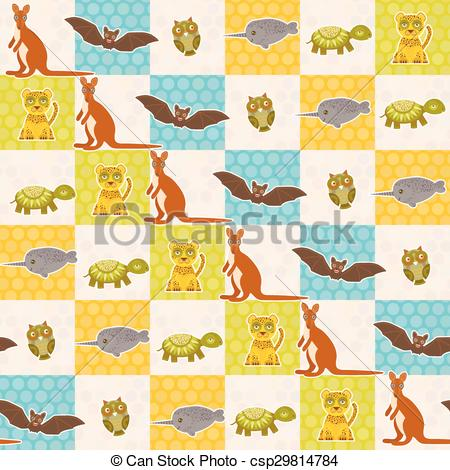 Vector of Set of funny animals bat turtle owl tiger kangaroo.
