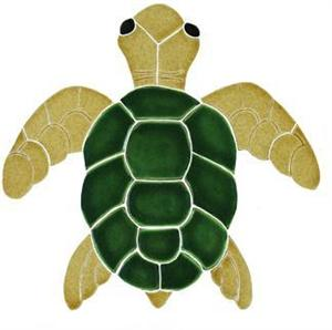 Ceramic Small Natural Turtle Top View Mosaic.