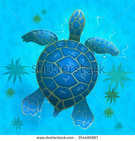 cartoon vector blue sea turtle under water. Top view . Vector game.