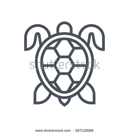 Sea Marine Turtle Top View Line Stock Vector 435156253.