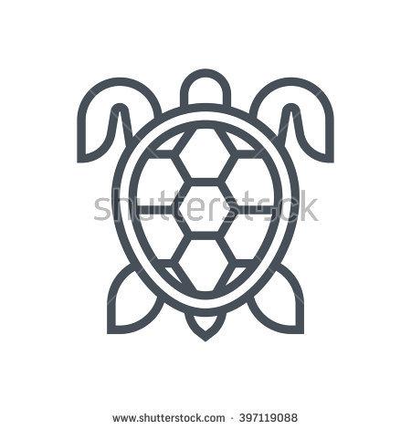 Sea Marine Turtle Top View Line Stock Vector 435156253.