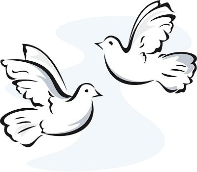 White turtle doves clipart.