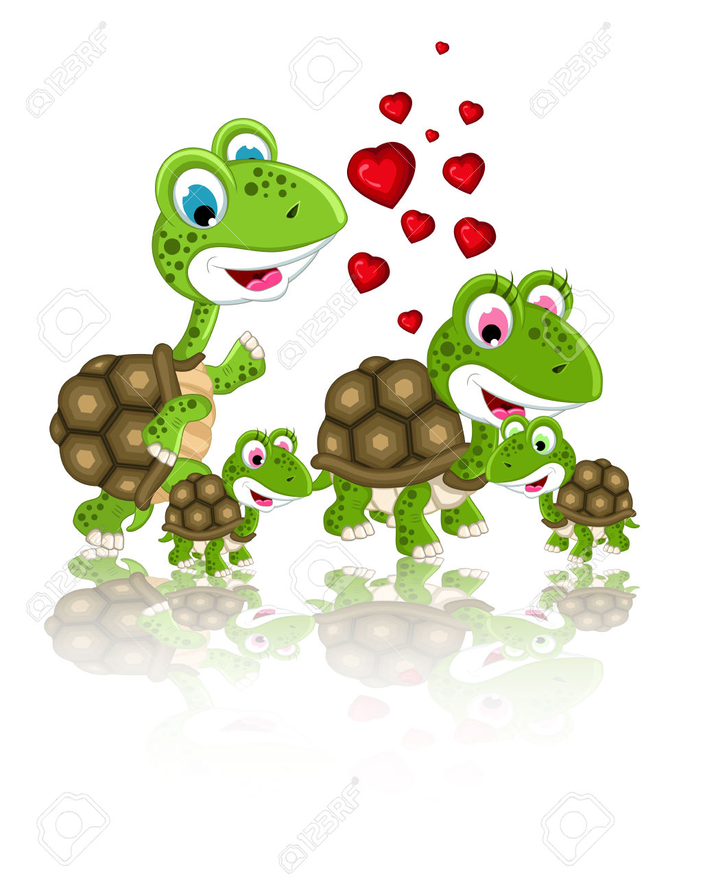 Happy Family Of Turtle Cartoon Royalty Free Cliparts, Vectors, And.
