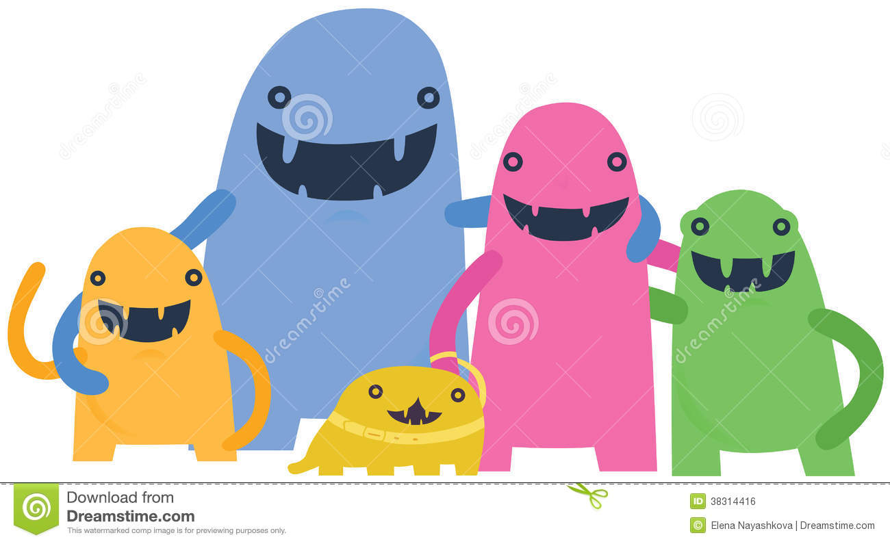 Happy Monster Family Royalty Free Stock Image.