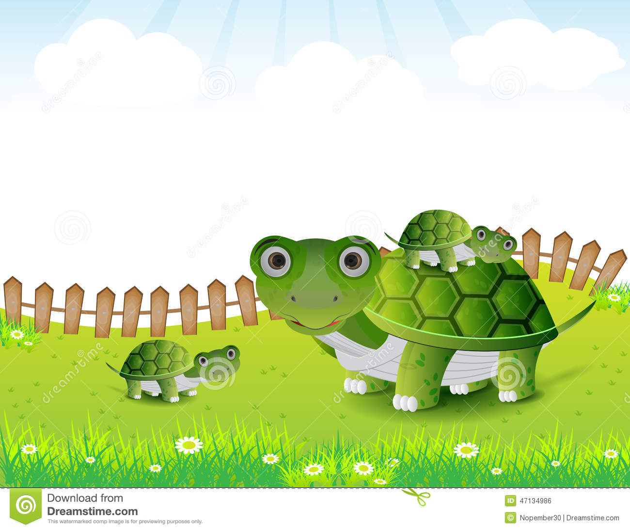 Turtle Family Illustration Stock Vector.