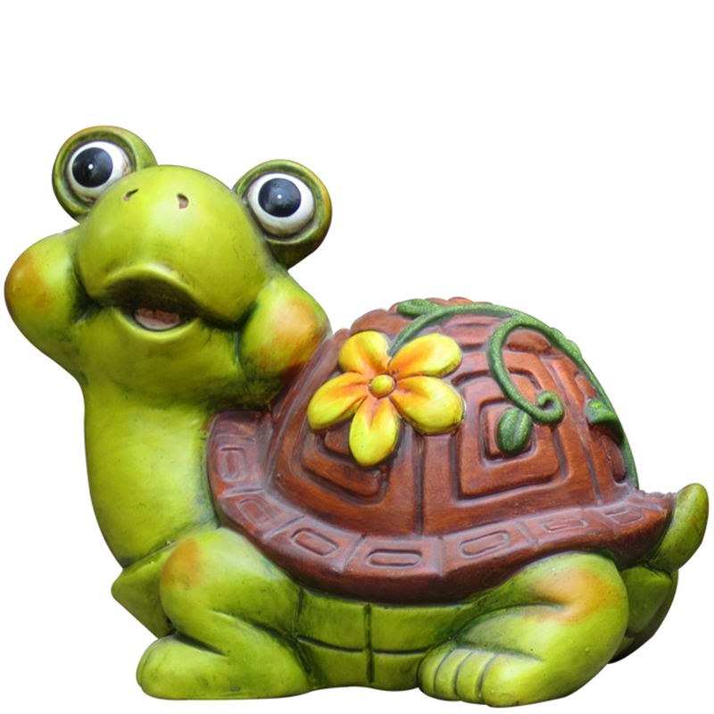 Tuscan Path Happy Turtle Painted Terracotta Garden Statue.