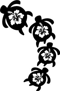 Hawaiian Flowers And Sea Turtle Clipart.