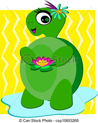 Clip Art Vector of Cute Turtle with Flowers and a Smil.