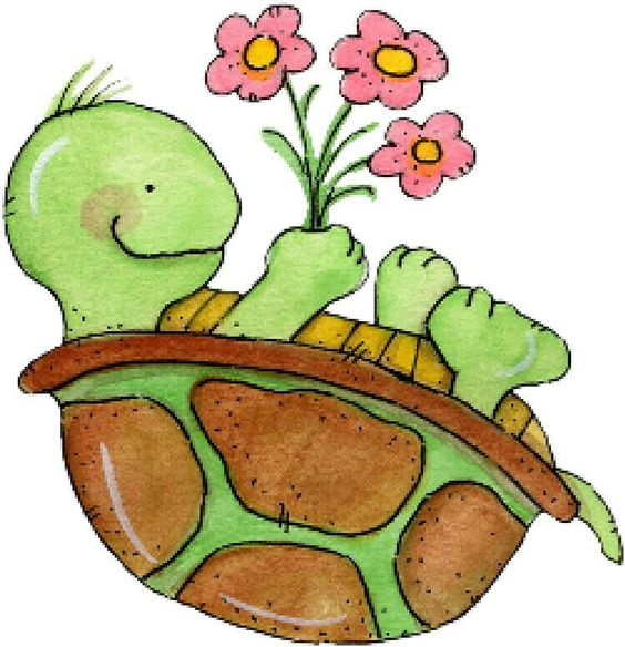 Showing post & media for Cartoon turtle holding flowers.