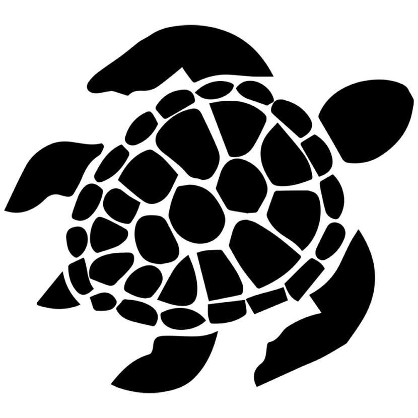 Hawaiian sea turtle and flowers clipart.