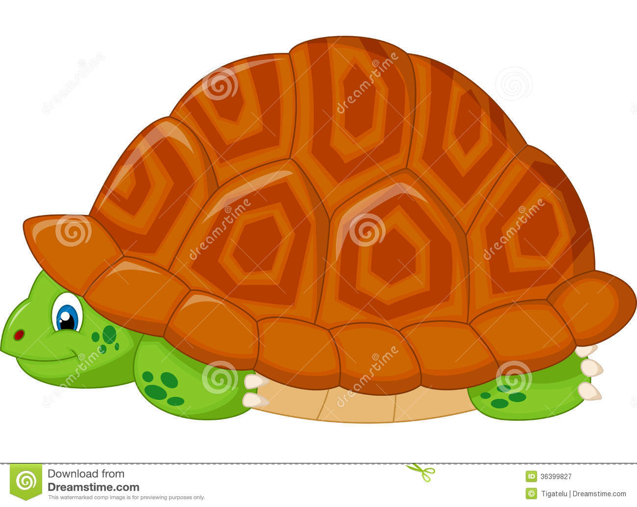 Turtle Cartoon Hiding In His Shell Royalty Free Stock Photography.