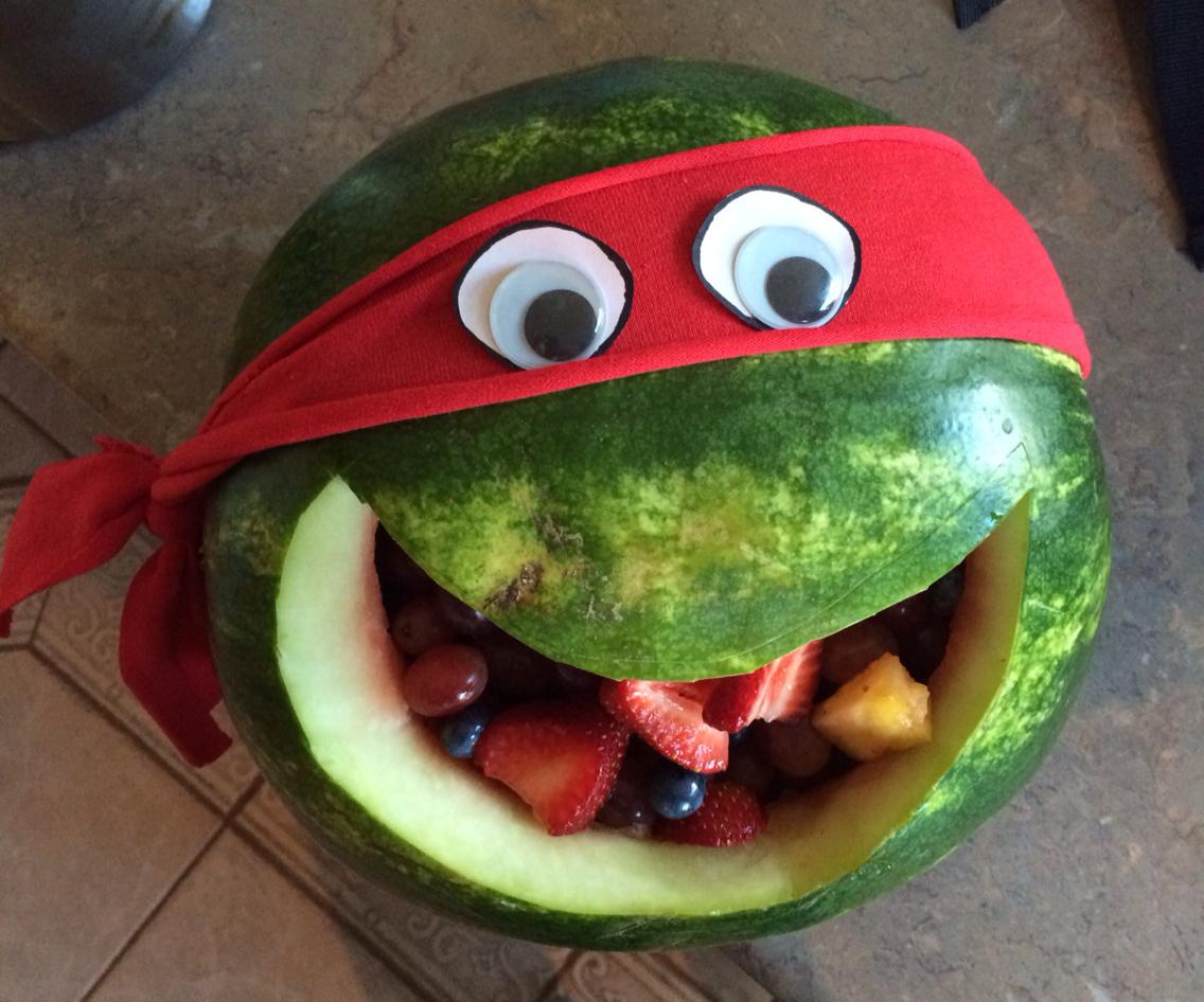 Ninja Turtle healthy school snack/birthday treat. Fun, easy, and.