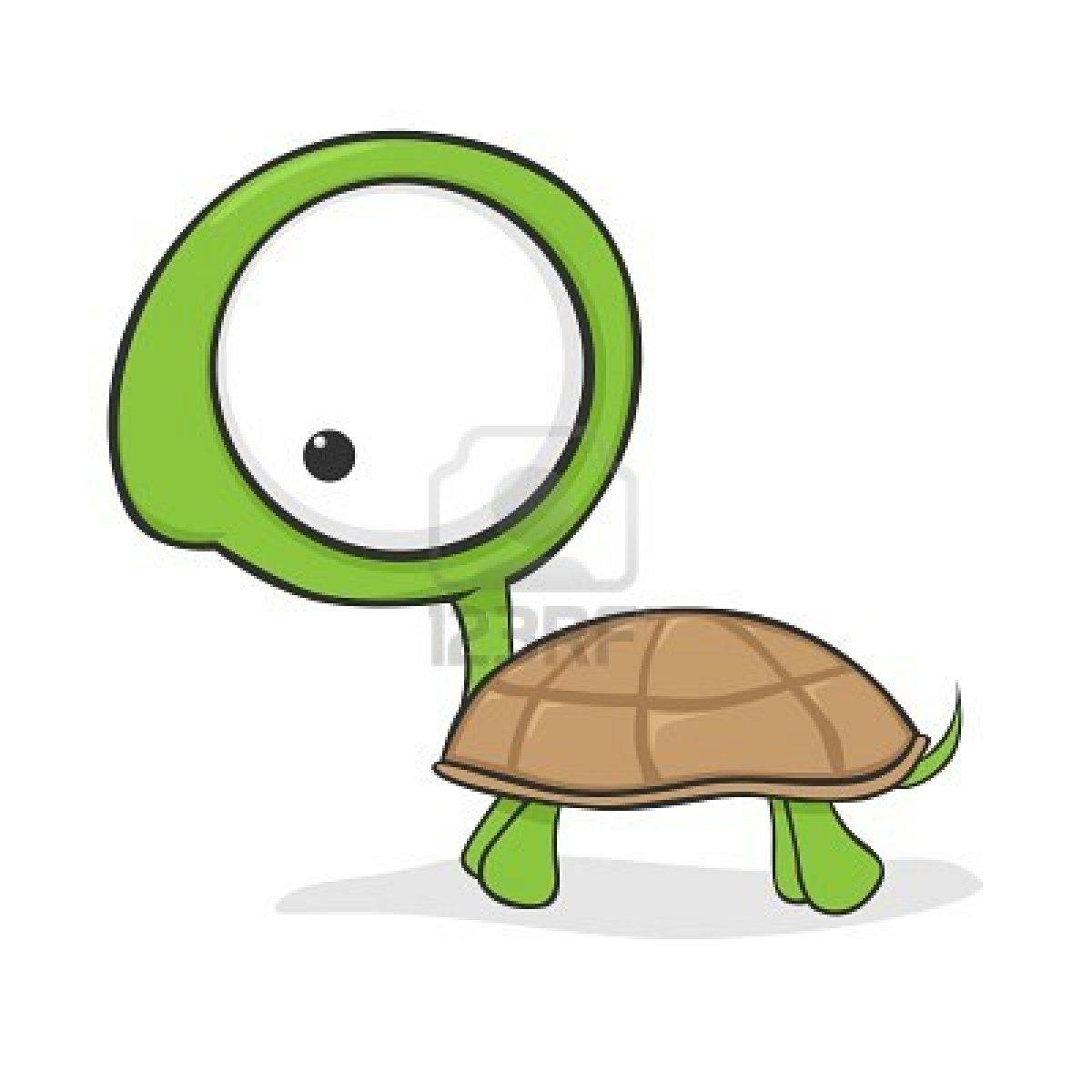 Cute cartoon turtle with huge eyes Stock Photo.