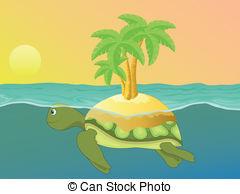 Sea turtle island clipart.