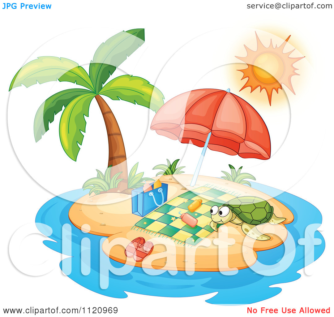 Cartoon Of A Sea Turtle On An Island With A Blanket And Umbrella.