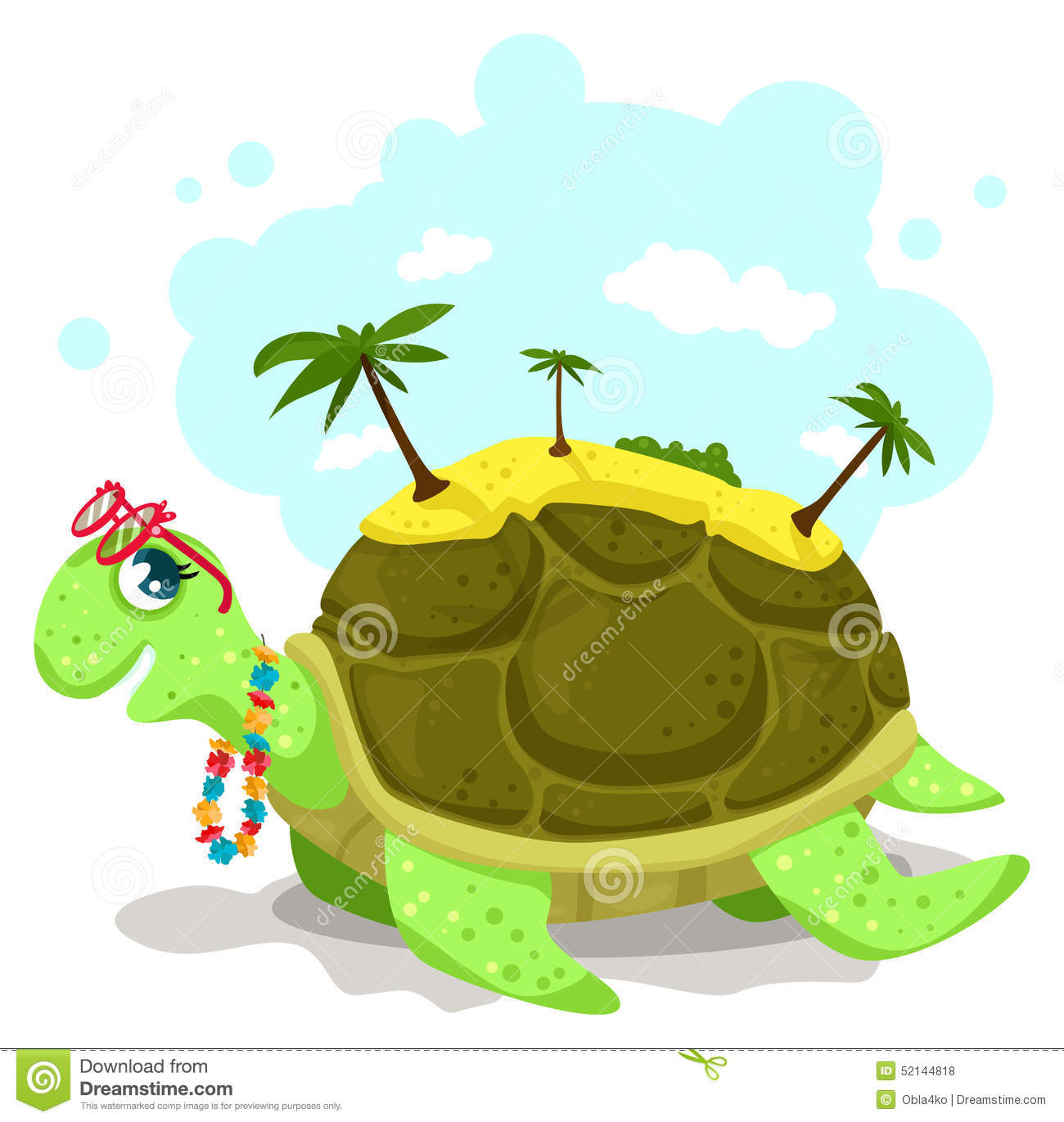 Turtle With An Island On It's Back Stock Vector.