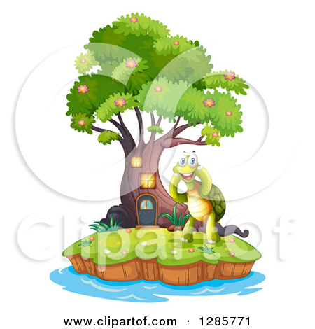 Animal Clipart of a Turtle on an Island with a Tree House.