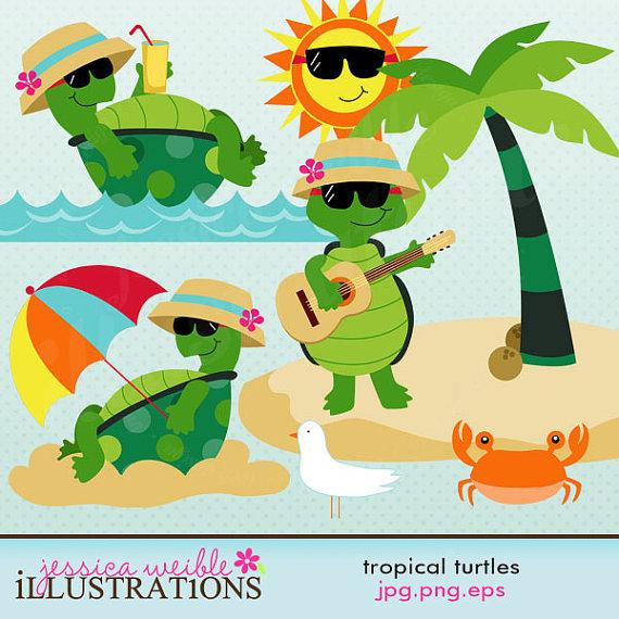 Tropical Turtles Cute Digital Clipart for Card Design.