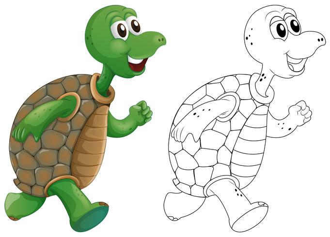 Animal outline for turtle running.