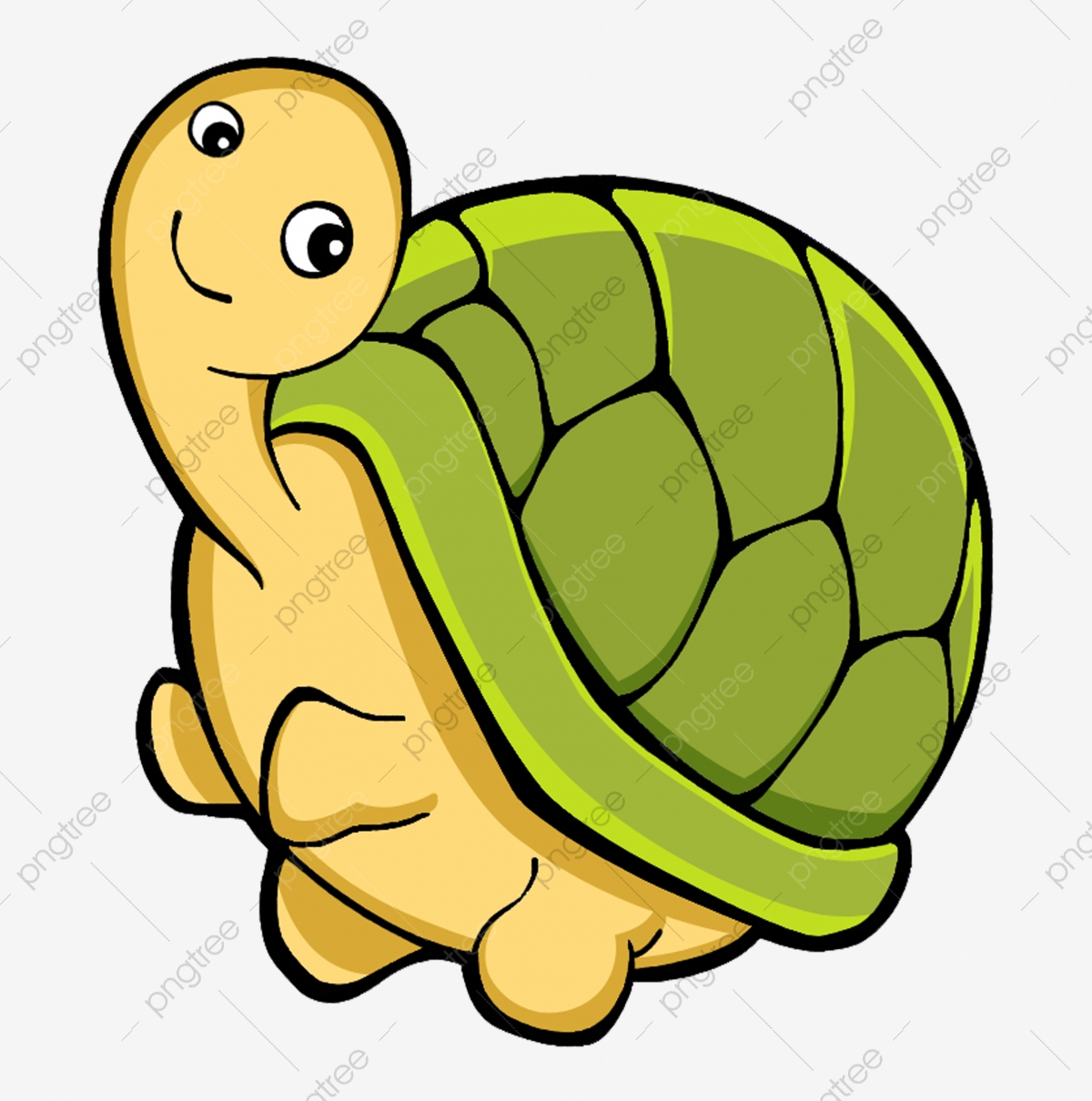 Hand Drawn Cartoon Running Cartoon Turtle, Cartoon Clipart.