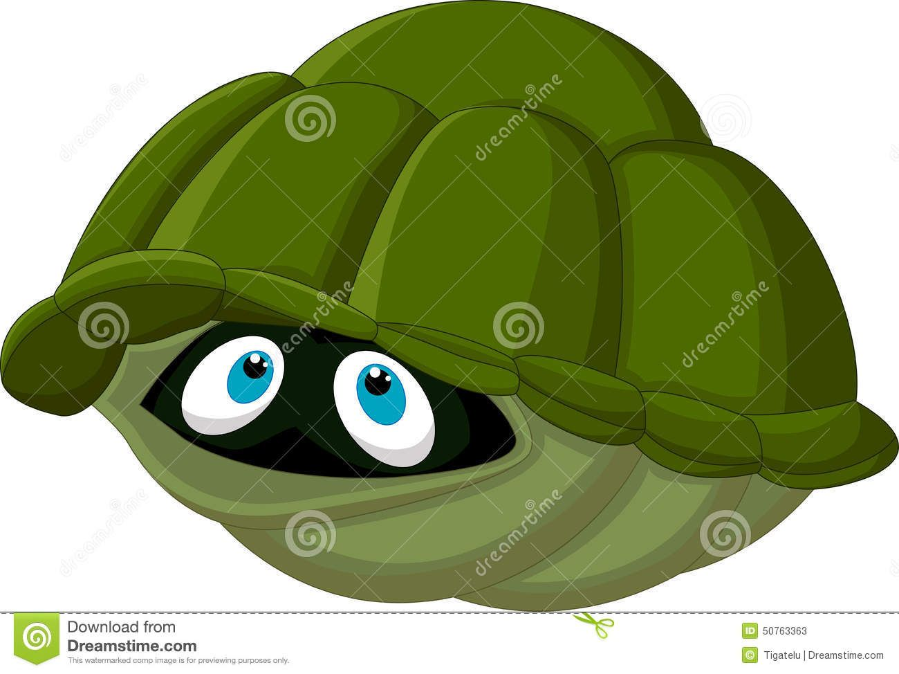 Cartoon turtle hides in its shell Stock Photos.