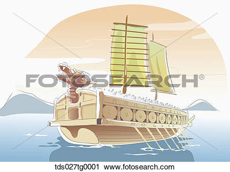 Clipart of Drawing of a Korean Turtle ship tds027tg0001.