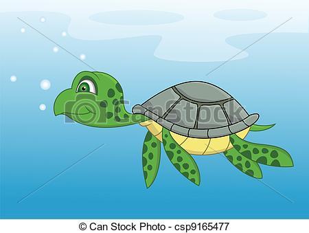 Vectors Illustration of Turtle cartoon swimming.