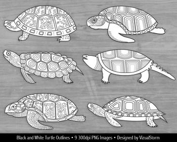 Black and White Turtle Clipart.