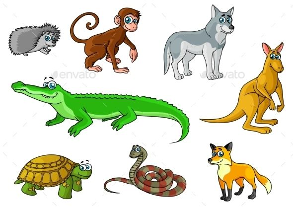 Cartoon forest and jungle animals characters with cute.