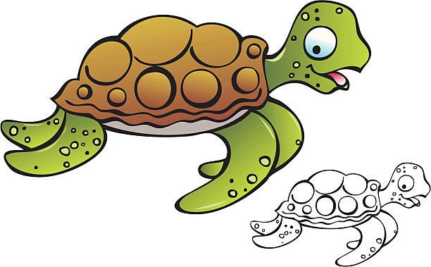 Sea Turtle Swiming Cartoon Clip Art, Vector Images & Illustrations.