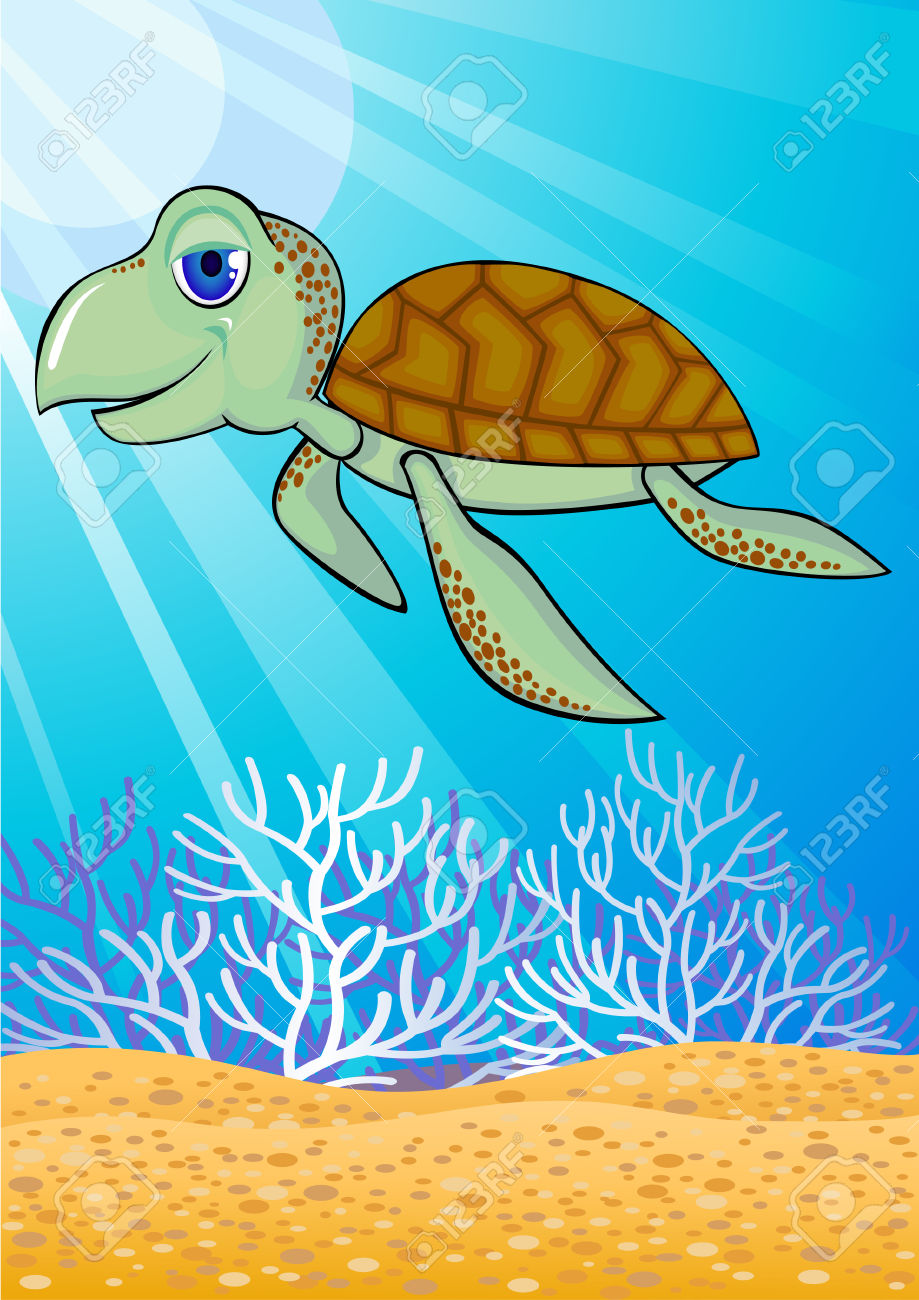 Cute Turtle Swiming In The Ocean Royalty Free Cliparts, Vectors.