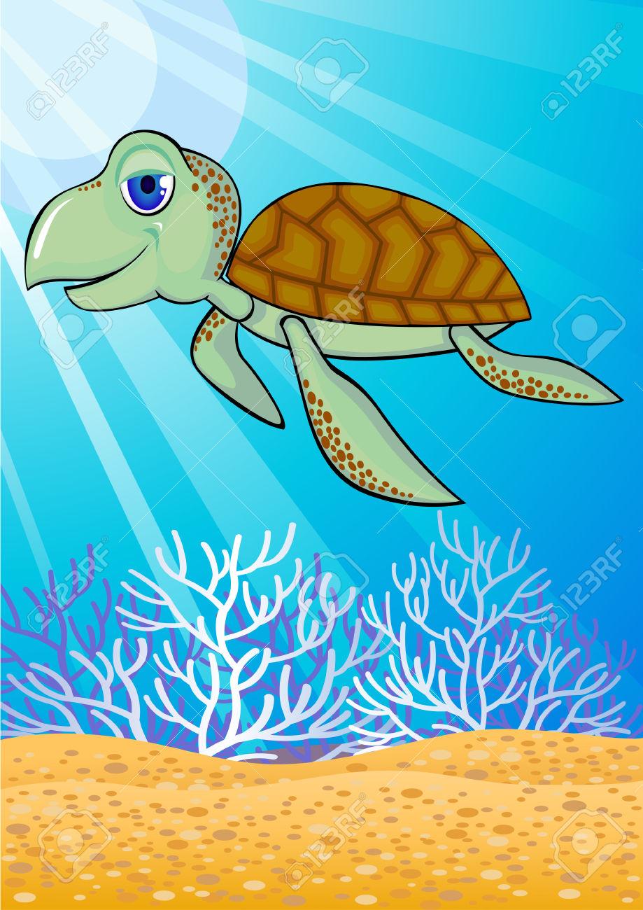 Cute Turtle Swiming In The Ocean Royalty Free Cliparts, Vectors.