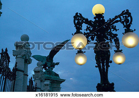 Stock Image of Hungary, Budapest, Buda Castle, lamp by gates and.